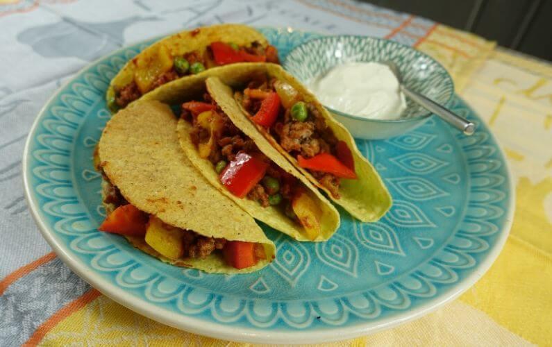 Recept Gluten en lactosevrije taco's met vegetarisch gehakt