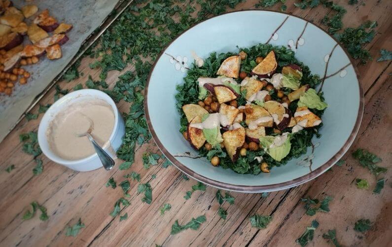 Vegan boerenkoolsalade voor gevoelige darmen